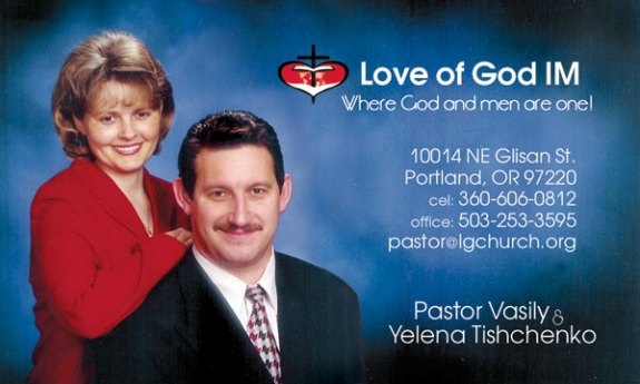 Businesscard for pastor Vasily & Yelena Tishchenko