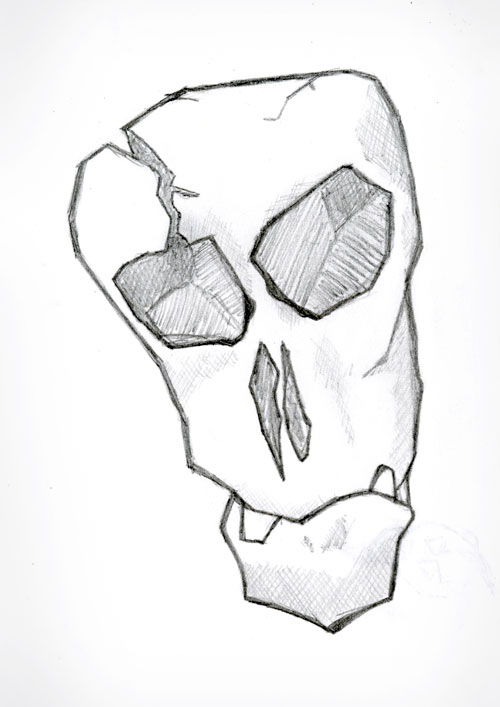 Sad Skull Sketch by Vadimages