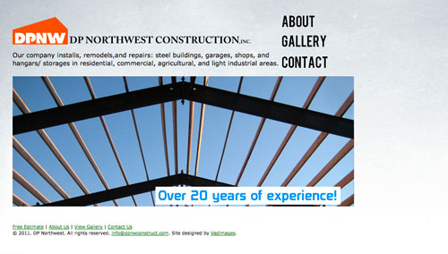 DP Northwest Construction website design by Vadimages