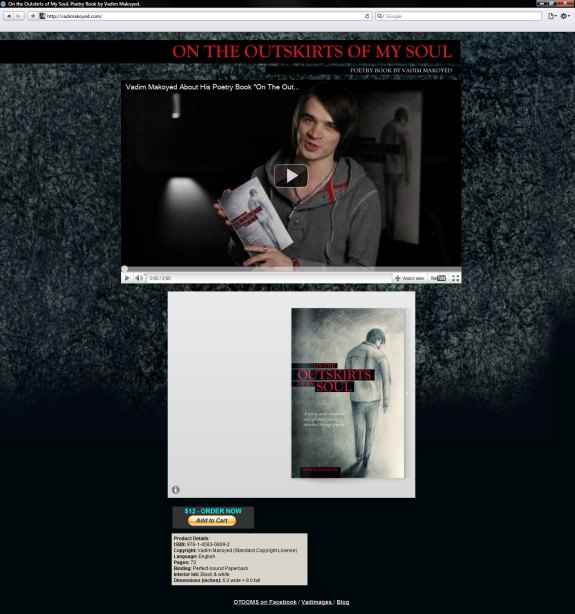 """Website for Vadim Makoyed's poetry book """"On The Outskirts Of My Soul"""""""