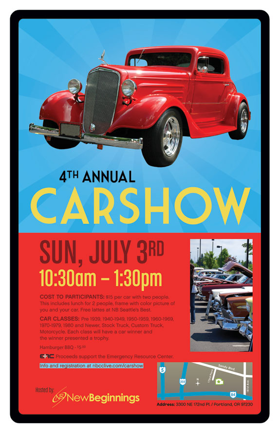 4th Annual Carshow at New Beginnings. Poster Design by Vadimages