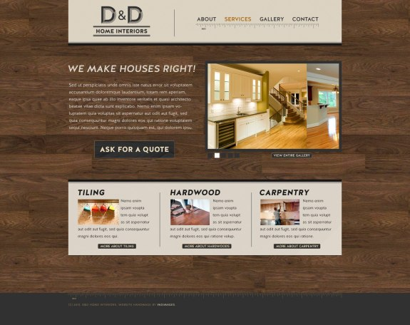 D&D Home Interiors website design by Vadimages